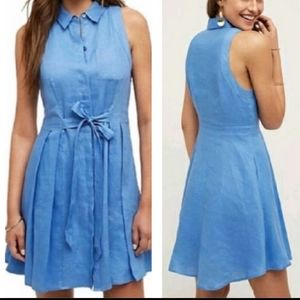 Anthro HD in Paris lined linen blue dress SIZE 8